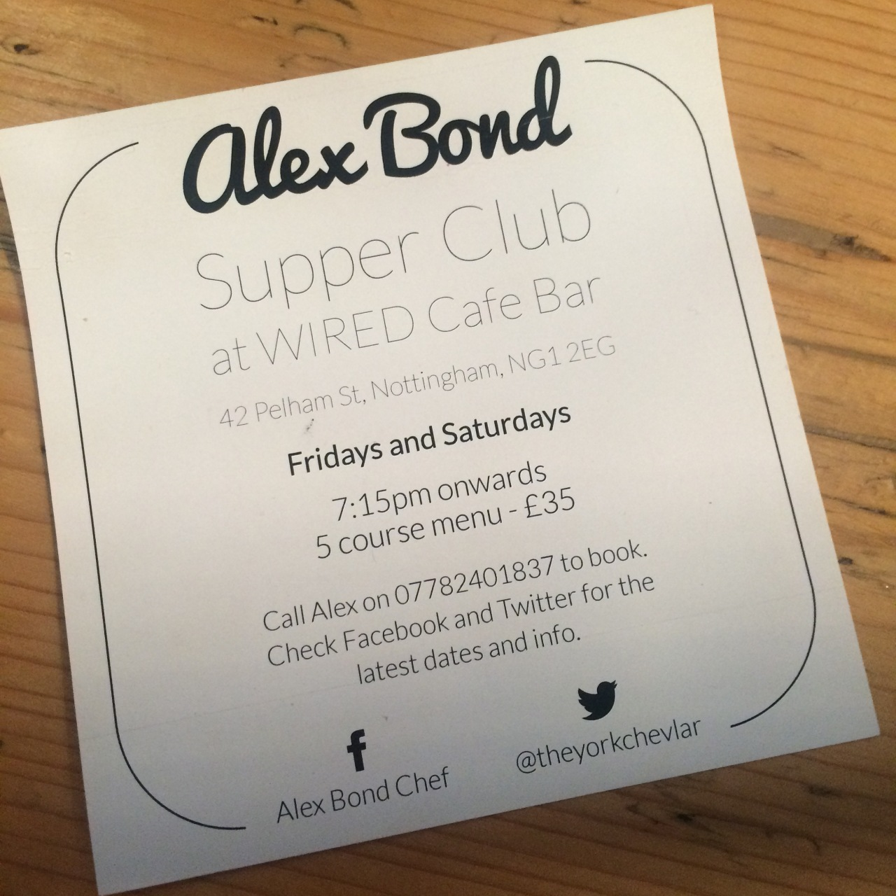 Alex Bond Supper Club at Wired Cafe Bar, Nottingham