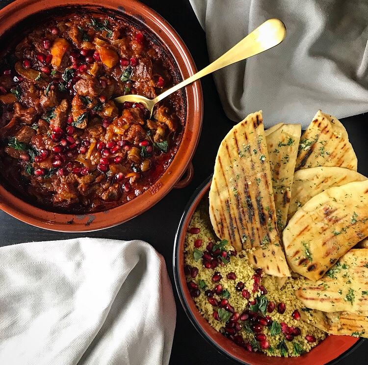 Recipe – Lamb tagine with lemon couscous &flatbreads